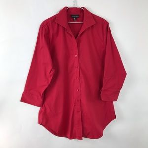 Foxcroft button down V-neck tunic length top red